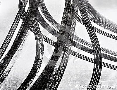 Car tire tracks