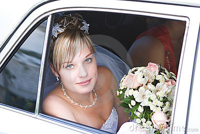 In the car to meet the groom