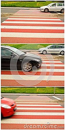 Car traffic on pedestrian crossing