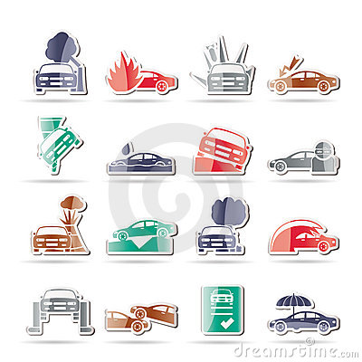 Car and transportation insurance and risk icons