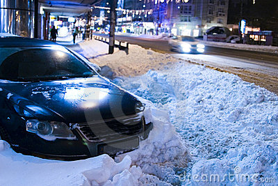 Car trapped in snow Editorial Image