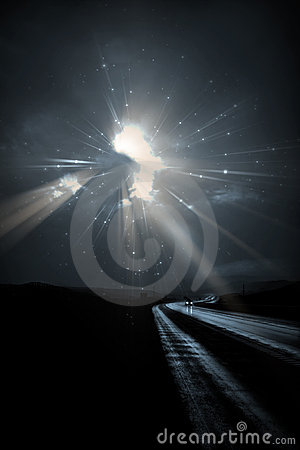Car travels on dark road