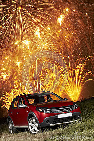 Free Car Under Fireworks Stock Photos - 22757473