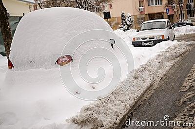 Car under snow Editorial Image