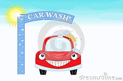 Car wash with happy auto