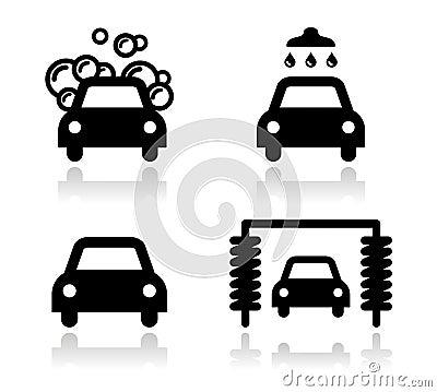 Car wash icons set -