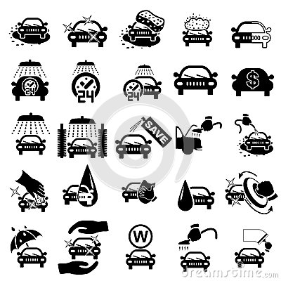 Free Car Wash Icons Set Stock Photos - 34266173