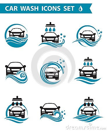 Car wash icons set Vector Illustration