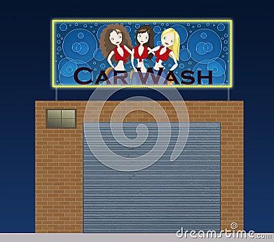 Car wash at night