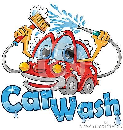 Car wash service Vector Illustration