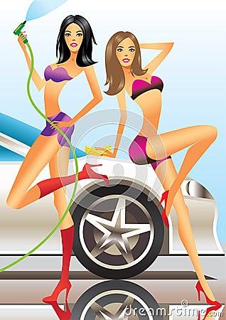 Car wash - sexy fashion models