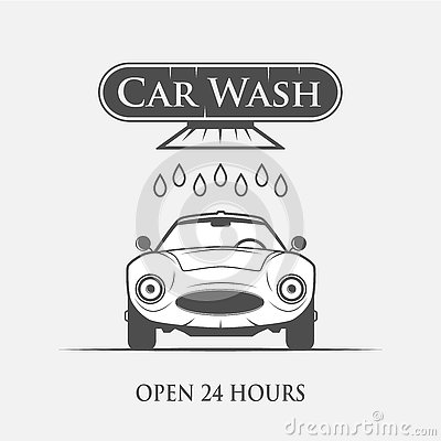 Car wash vintage style Vector Illustration