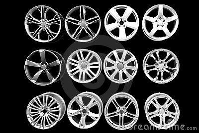 Car wheel aluminum rims isolated