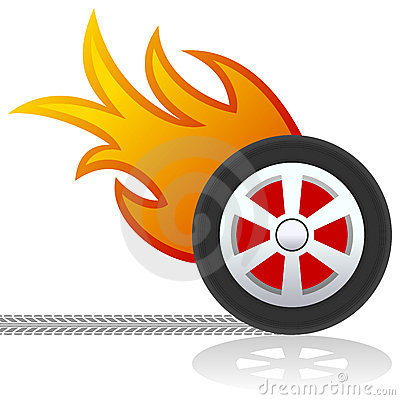 Car Wheel with Flames Logo