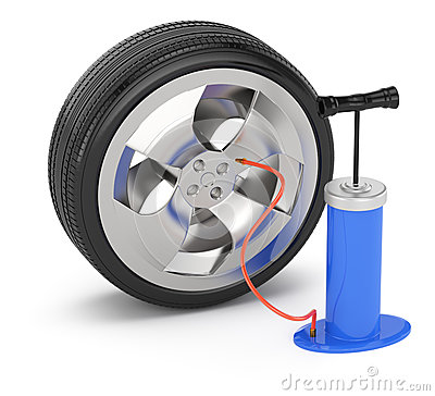 Car wheel and pump