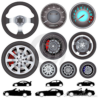 Free Car, Wheel, Steering Wheel Vector Stock Images - 3930824