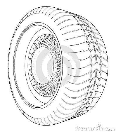 Car Wheel Tire Vector 06