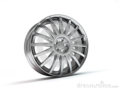 Aluminum wheel image 3D high quality rendering. White picture figured alloy rim for car, tracks. Best used for Motor Show promotio