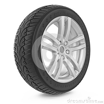 Free Car Wheel. Winter Tire Royalty Free Stock Image - 35861366