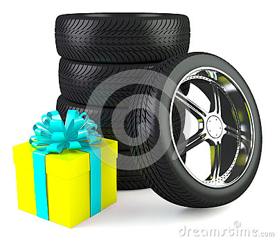 Car wheels with big gift box