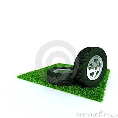 Car wheels on a lawn