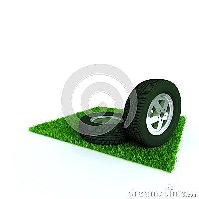 Car wheels on a lawn