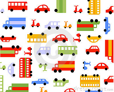 Car on wheels pattern in