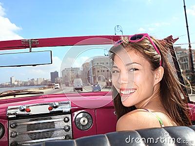 Car woman happy
