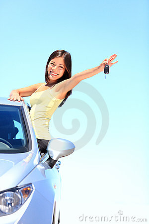 Car woman showing car keys