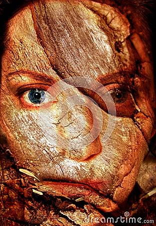 Cara agrietada de la mujer abstracta