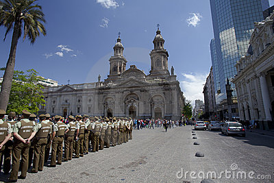 Carabineros in parade in Plade de Armas, Santiago Editorial Stock Image