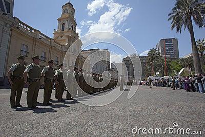 Carabineros parade in Plaza de Armas, Santiago Editorial Image