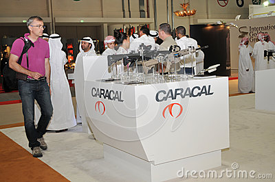 Caracal weaponry pavilion at Abu Dhabi International Hunting and Equestrian Exhibition 2013 Editorial Photography