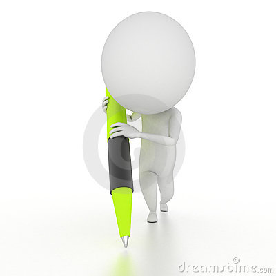 Caractère avec un crayon lecteur