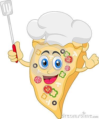Caractère drôle de chef de pizza de bande dessinée