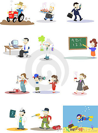 Caractères dans diverses professions