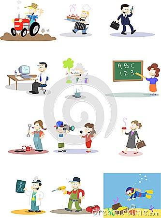Caracteres en varias profesiones