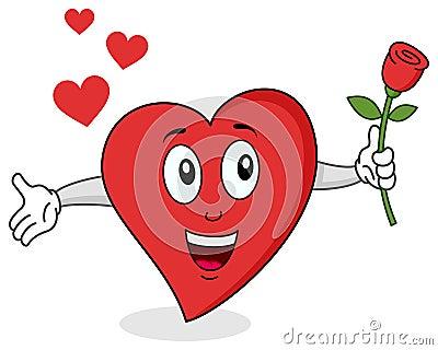 Caractère rouge drôle de coeur