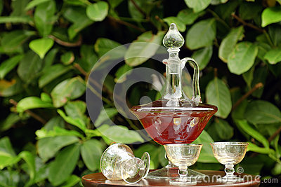 Carafe with liquor and glasses