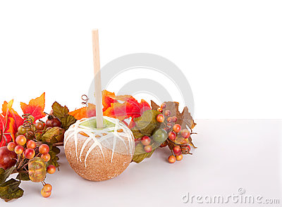 Caramel and chocolate covered apple with  leaves