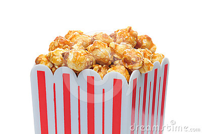 Caramel Corn in Striped Container
