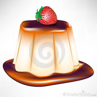 Caramel custard with strawberry
