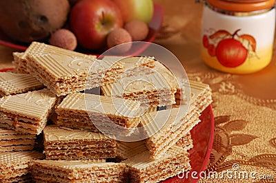 Caramel waffle on the table
