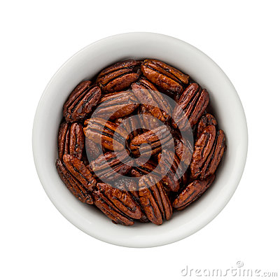 Free Caramelized Pecans In A Ceramic Bowl Stock Images - 65687664