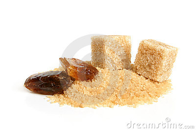 Caramelized sugar, cane sugar cubes and sugar-sand