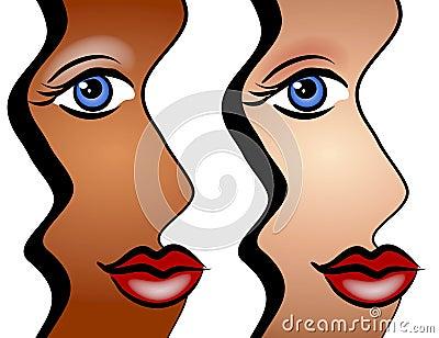 Caras abstractas del arte de las mujeres