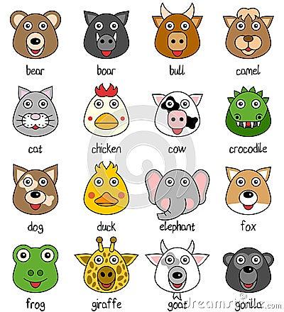 Caras animales de la historieta fijadas [1]