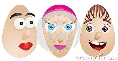 Caras en los huevos