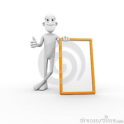Carattere 3D con il segno in bianco