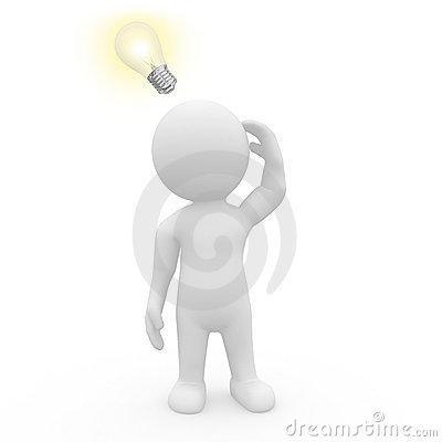 Carattere 3D con la lampadina illuminata
